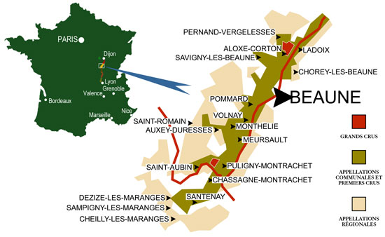 Image gallery beaune maps for Tuile cote de beaune